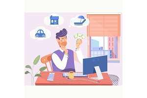 Businessman who has difficult choices to make.Concept of difficult choices of a businessman. Flat vector illustration
