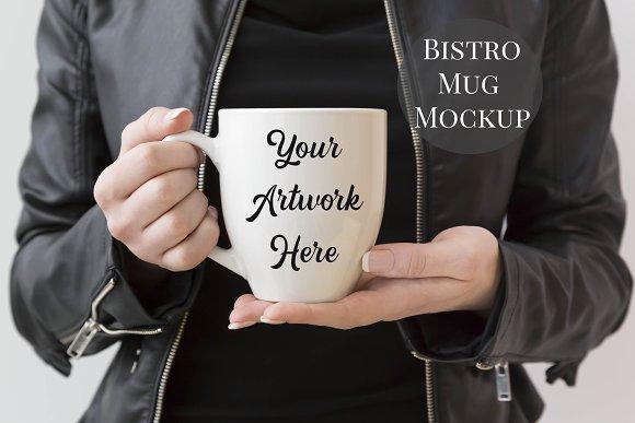 Woman Holding Bistro Mug Mockup