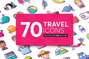 70 travel and summer icons