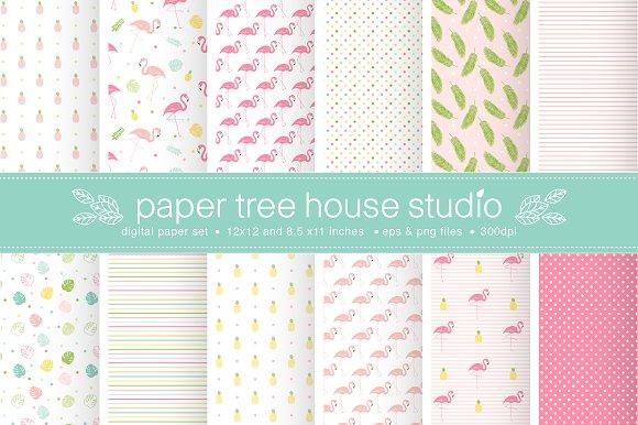 Seamless Tropical Flamingo Paper