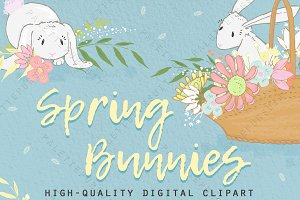 Cute bunnies and flowers clip art