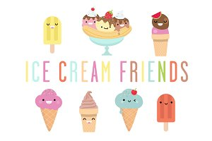Ice cream friends - illustrations