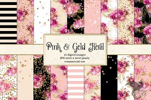Pink & Gold Floral Digital Paper