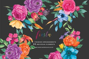 Watercolor Fiesta Flowers Set