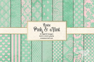 Rustic Pink and Mint Digital Paper