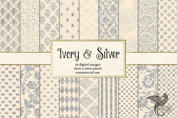 Ivory and Silver Digital Paper