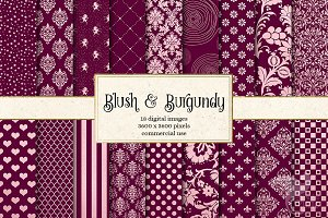 Blush Pink & Burgundy Digital Pape