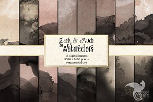 Black and Nude Watercolor Textures