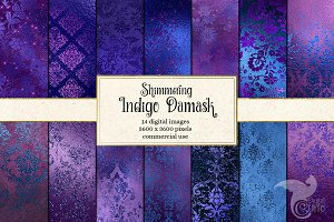Shimmering Indigo Damask Textures