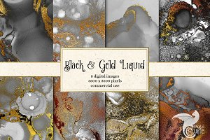 Black and Gold Liquid Textures