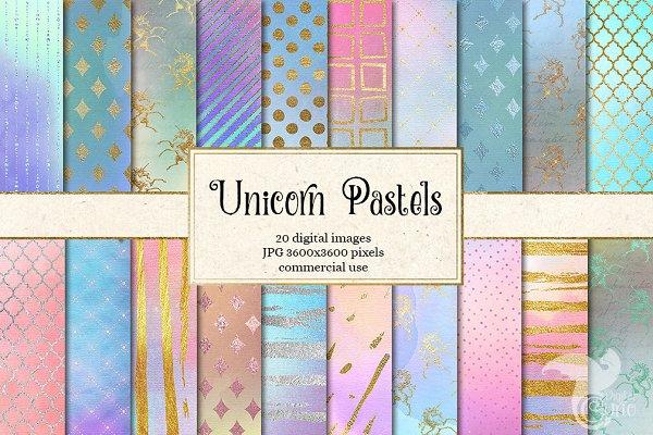 Unicorn Pastel Digital Paper