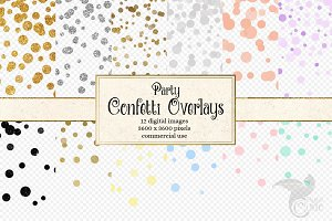 Party Confetti Circles Overlays
