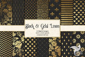 Black and Gold Linen Digital Paper