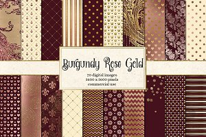 Burgundy and Rose Gold Digital Paper