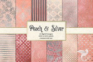 Peach and Silver Digital Paper