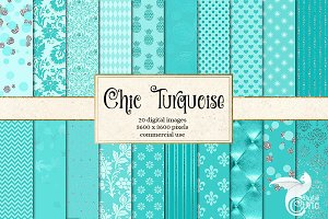 Chic Turquoise Digital Paper