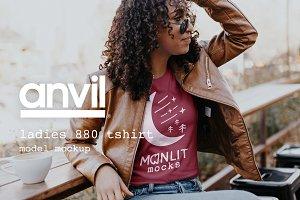 Coffee Shop Anvil Woman Shirt Mockup
