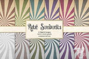 Retro Sunburst Digital Paper