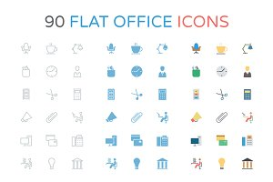 90 Flat Office Icons