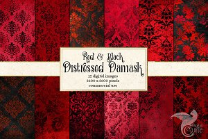 Red and Black Distressed Damask