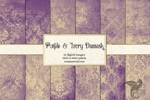 Purple and Ivory Damask Textures