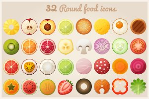Fruit halves and round food icons