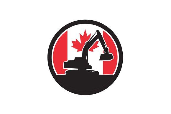 Canadian Excavator Canada Flag Icon