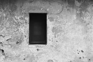 Rustic Window Detail Black and White