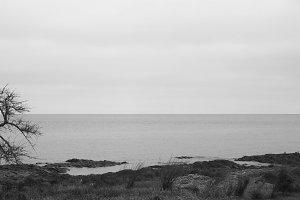 Horizon Sea Detail Black and White