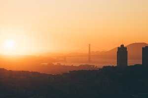 Sunset over Golden Gate Bridge