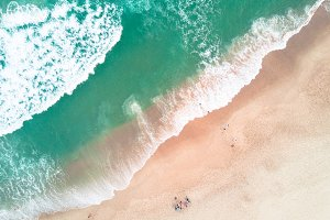 Aerial shot of a beach