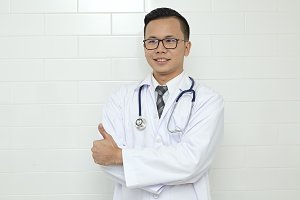 Male Doctor standing In The Hospital
