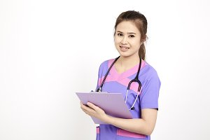Smiling Asian medical doctor woman