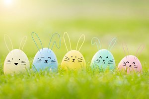 easter eggs cute bunny.