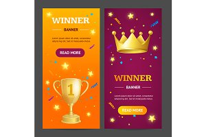 Winner Banner Set. Vector