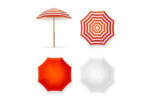 Realistic 3d Sun Umbrella Set.