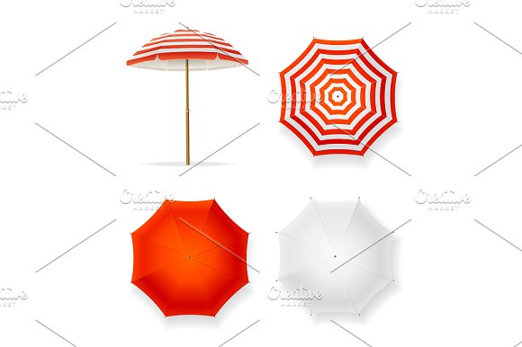 Realistic 3D Sun Umbrella Set