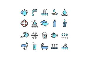 Pool and Water Icon Set. Vector