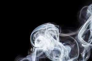 Abstract white blue smoke