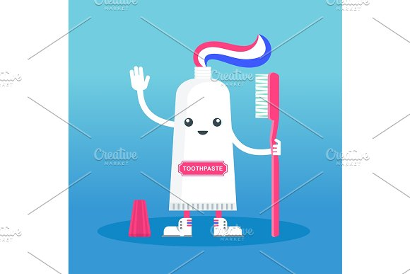 cute happy smiling toothpaste