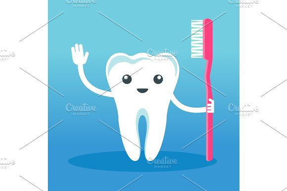 cute smiling happy tooth