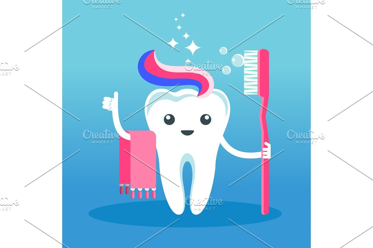 cute smiling happy tooth washes