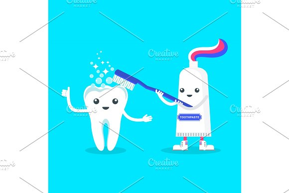 cute smiling toothpaste cleaning tooth