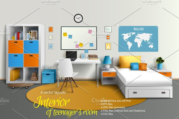 Teens Room Interior Set