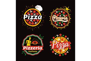 Pizza and Pizzeria Logos Set Vector Illustration