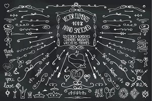 Doodle border,arrows,decor elements