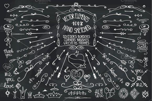 Doodle border,arrows,decor elements