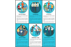 Set of Office Work Successful Teamwork Posters