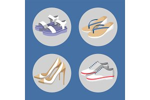 Shoe Collection Summer Mode Vector Illustration