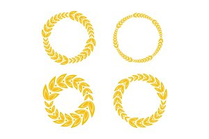 circle ornament golden laurel frame